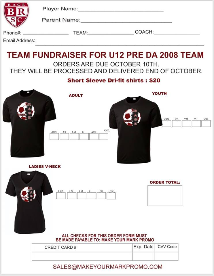2008 Boys Pre-DA Team - T-Shirt Fundraiser